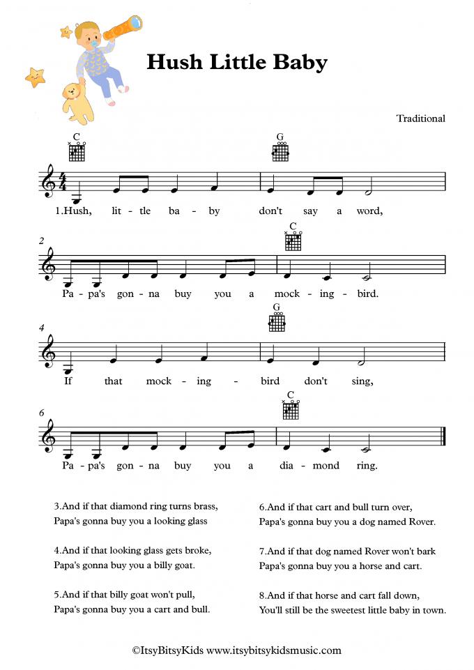 Hush Little Baby Lullaby Sheet Music With Chords Lyrics ...